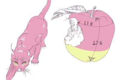 Cat and Apple Yシャツ絵柄 「猫・りんご」