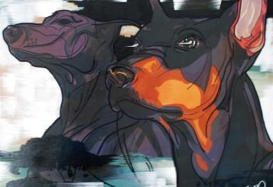 Dogs アクリル画