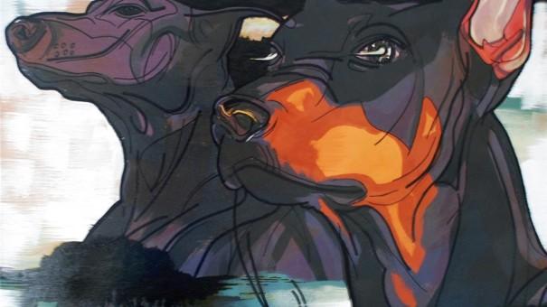 アクリル画 「Dogs 」